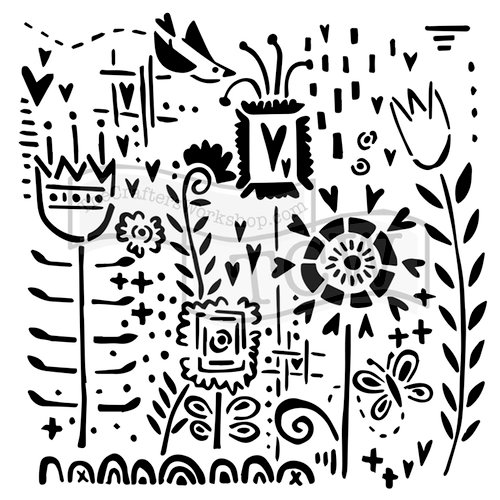 The Crafter's Workshop - 12 x 12 Doodling Templates - Joyful Flowers