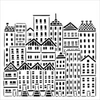The Crafter's Workshop - 12 x 12 Stencils - City Buildings