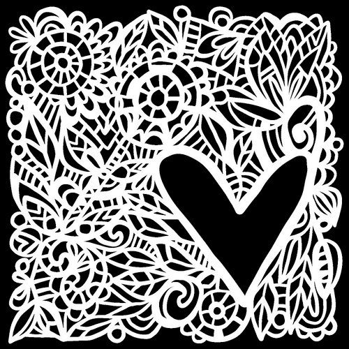 The Crafter's Workshop - 12 x 12 Doodling Templates - Love Frame