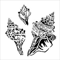 The Crafter's Workshop - 6 x 6 Stencil - Conch Shells