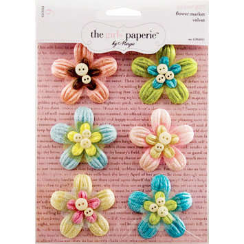 The Girls Paperie - Paper Girl Collection - Velvet Flowers - Market, CLEARANCE