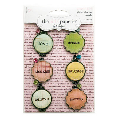 Advantus - The Girls Paperie - Paper Girl Collection - Metal Glitter Charms - Words, CLEARANCE