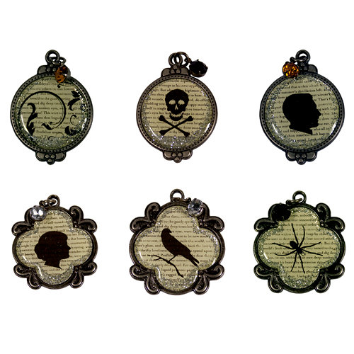 The Girls Paperie - Toil and Trouble Collection - Halloween - Metal Glitter Charms with Glitter Accents - Images