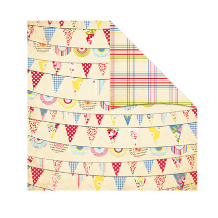 The Girls Paperie - Kitch Collection - 12 x 12 Double Sided Paper - Party Pennants, BRAND NEW