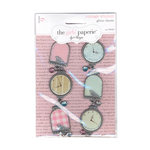The Girls Paperie - Vintage Whimsy Collection - Metal Charms with Glitter Accents, BRAND NEW