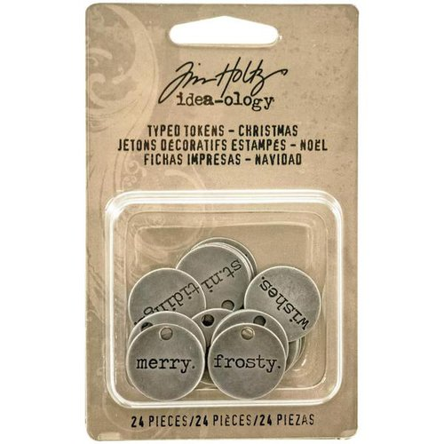 Advantus - Tim Holtz - Idea-ology Collection - Christmas - Typed Tokens - Christmas