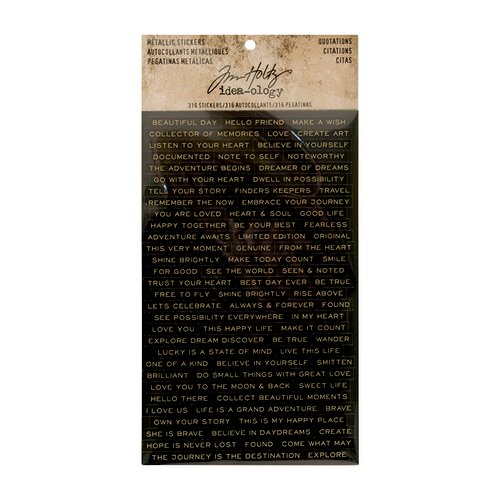 Tim Holtz metalic stickers Quotations