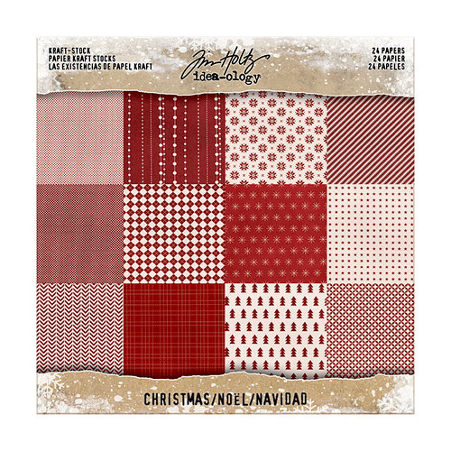 Advantus - Tim Holtz - Idea-ology Collection - 8 x 8 Kraft Paper Stash - Christmas