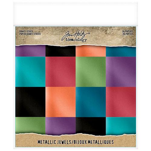 Idea-ology - Tim Holtz - 8 x 8 Kraft Stock - Metallic - Jewels