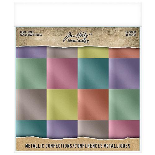 Advantus - Tim Holtz - Idea-ology Collection - 8 x 8 Kraft Stock - Metallic - Confections