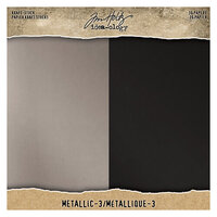 Idea-ology - Tim Holtz - 8 x 8 Paper Pad - Kraft-Stock - Metallic 3