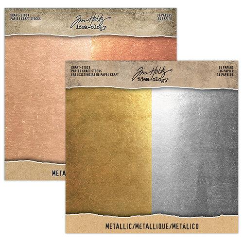 Idea-ology - Tim Holtz - 8 x 8 Kraft Stock - Metallic Essentials Bundle