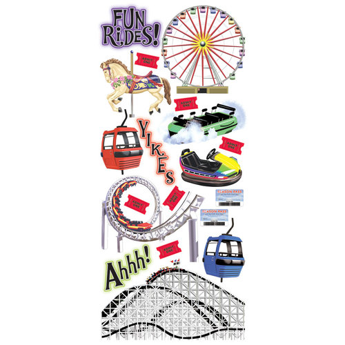 Creative Imaginations Stickers - Amusement Park Collection - Rides