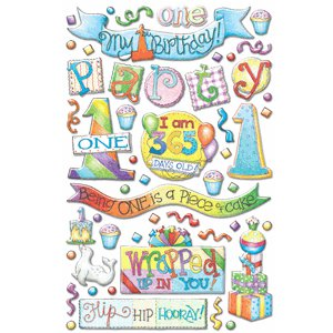 Creative Imaginations - First Birthday Collection - Epoxy Stickers