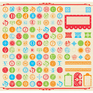 Creative Imaginations - Narratives by Karen Russell - 12x12 Sticker Sheets - Antique Medley - ABC, CLEARANCE
