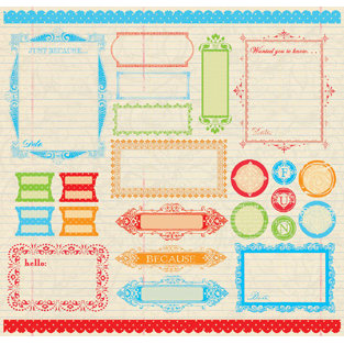Creative Imaginations - Narratives by Karen Russell - 12x12 Sticker Sheets - Antique Medley - Labels, CLEARANCE
