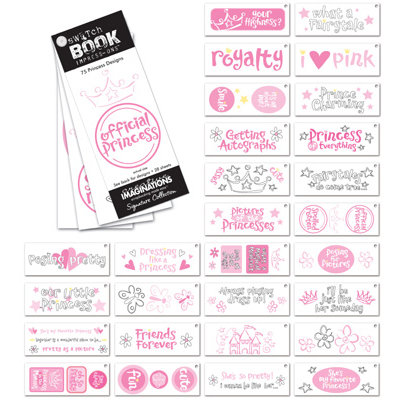 Creative Imaginations - Signature Collection - Swatch Books - Rub Ons - Impress-Ons - Princess, CLEARANCE