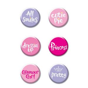 Creative Imaginations - Princess Collection - Jumbo Round Brads - Princess Phrase