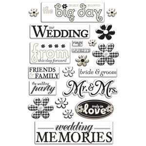 Creative Imaginations - Art Warehouse by Danelle Johnson - Wedding - Pearl Epoxy Stickers, BRAND NEW