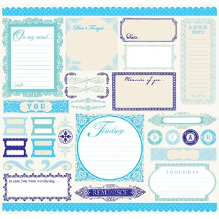 Creative Imaginations - Narratives by Karen Russell - 12x12 Cardstock Sticker Sheet - Blue Bell Boy Collection, CLEARANCE