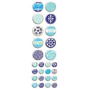Creative Imaginations - Narratives by Karen Russell - Mini Epoxy Dots - Blue Bell Boy Collection, BRAND NEW