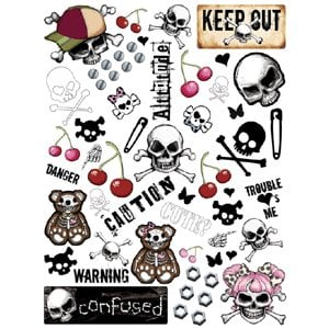 Creative Imaginations - Skull and Crossbones Collection - Large Impress On Rub Ons - Skull and Crossbones