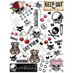 Creative Imaginations - Skull and Crossbones Collection - Large Impress On Rub Ons - Skull and Crossbones