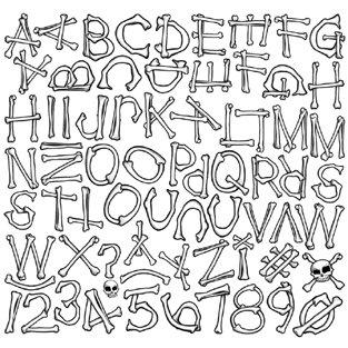 Creative Imaginations - Skull and Crossbones Collection - 12x12 Alphabet Cardstock Sticker - Bones