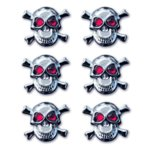 Creative Imaginations - Skull and Crossbones Collection - Metal Brads - Skull Brads