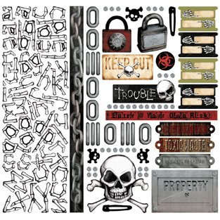 Creative Imaginations - Caution Boy Collection - 12x12 Cardstock Stickers