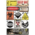 Creative Imaginations - Caution Boy Collection - Epoxy Stickers