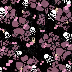 Creative Imaginations - Caution Girl Collection - Paper - Cherry and Skull Paper