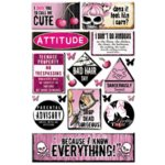 Creative Imaginations - Caution Girl Collection - Epoxy Stickers