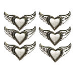 Creative Imaginations - Love Stuck by Marah Johnson - Tattoo Collection - Winged Hearts Metal Brads