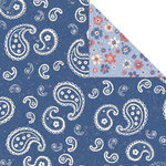 Creative Imaginations - All American Collection by Samantha Walker - Double Sided Paper - Blue Bandana, CLEARANCE