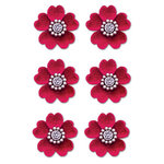 Creative Imaginations - Eclecti-Ka Embellishments by Marah Johnson - Velvet Floral Brads - Red