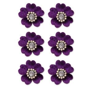 Creative Imaginations - Eclecti-Ka Embellishments by Marah Johnson - Velvet Floral Brads - Purple