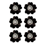 Creative Imaginations - Eclecti-Ka Embellishments by Marah Johnson - Velvet Floral Brads - Black