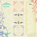 Creative Imaginations - Narratives - Melonberry Collection by Karen Russell - 12x12 Paper - Five Melonberry Notes, CLEARANCE
