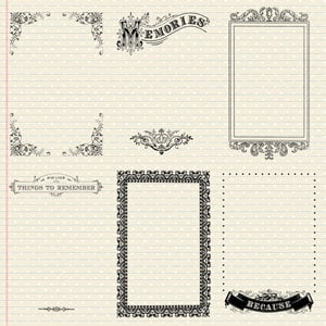 Creative Imaginations - Narratives - Antique Cream Collection by Karen Russell - 12x12 Paper - Six Antique Notes, CLEARANCE