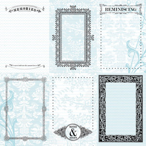 Creative Imaginations - Narratives - French Blue Bell Collection by Karen Russell - 12x12 Paper - Six Blue Bell Notes