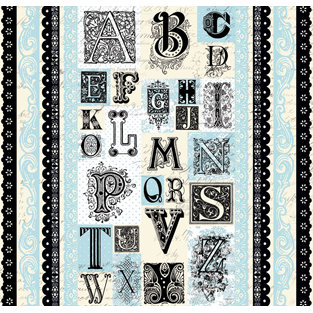 Creative Imaginations - Narratives - French Blue Bell Collection by Karen Russell - 12x12 Sticker Sheets - Blue Bell Alphabet and Borders