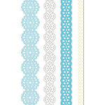 Creative Imaginations - Narratives - French Blue Bell Collection by Karen Russell - Self-Adhesive Paper Lace - 4 Ribbons - Blue Bell