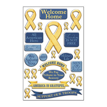 Creative Imaginations - Signature Military Collection - Epoxy Stickers - Yellow Ribbon