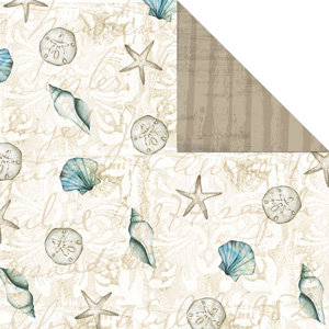 Creative Imaginations - Tidepools Collection by Christine Adolph - 12x12 Doublesided Paper - Beach Combing