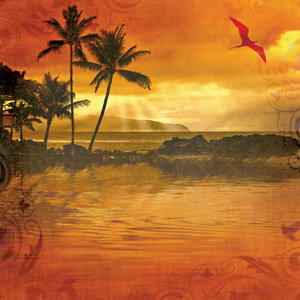 Creative Imaginations - Tropical Collection by Marah Johnson - 12x12 Paper - Tropical Sunset