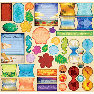 Creative Imaginations - Tropical Collection by Marah Johnson - 12x12 Cardstock Stickers - Tropical