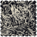 Creative Imaginations - Narratives - Antique Cream Collection - 12x12 Diecut Paper - Cream Flourish