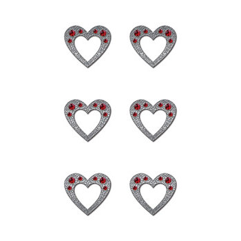 Creative Imaginations - Metal Cast Rhinestone Brads - Red Hearts, CLEARANCE