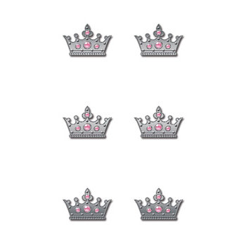 Creative Imaginations - Metal Cast Rhinestone Brads - Pink Crown